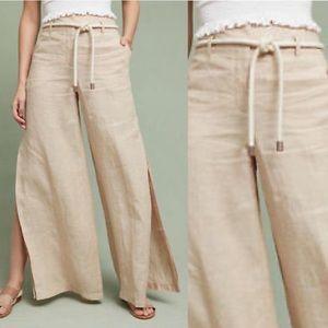 {Anthro} Elevenses Wide Leg Linen Slit Pants